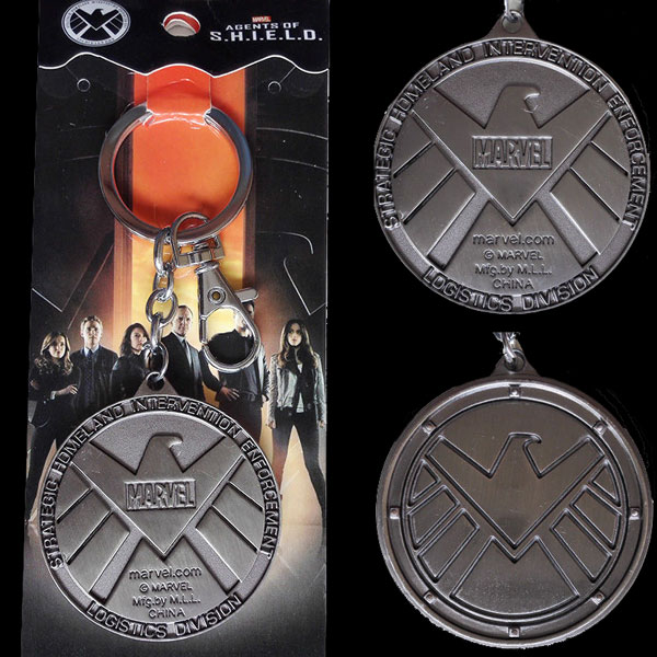 Agents of S.H.I.E.L.D. Duple Logo Metal Keychain Keyring ,Silver 5cm