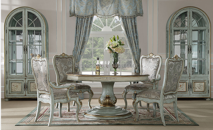 Elegant Classic Round Dinner Table With Chairs Antique Design Wood Carved Dinning Set Hand