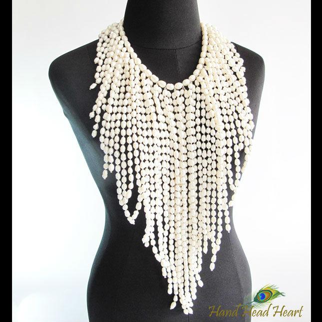 Extravagancia de la perla piedras preciosas collar hecho a mano jn82