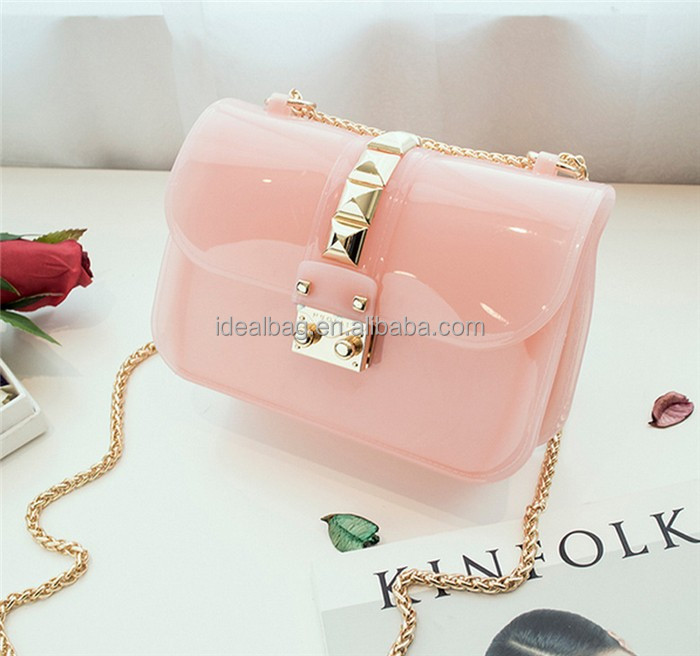 4369acddf1a6 candy color transparent jelly bag mini woman chain messenger bag shoulder  crossbody bag
