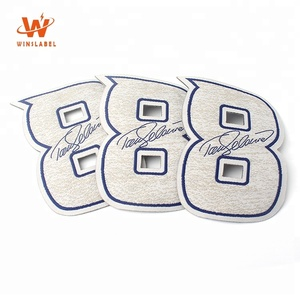 Fashionable Design Brand Name Customized Laser Cut Number Shape Iron-on Woven Badges for Sports Wear