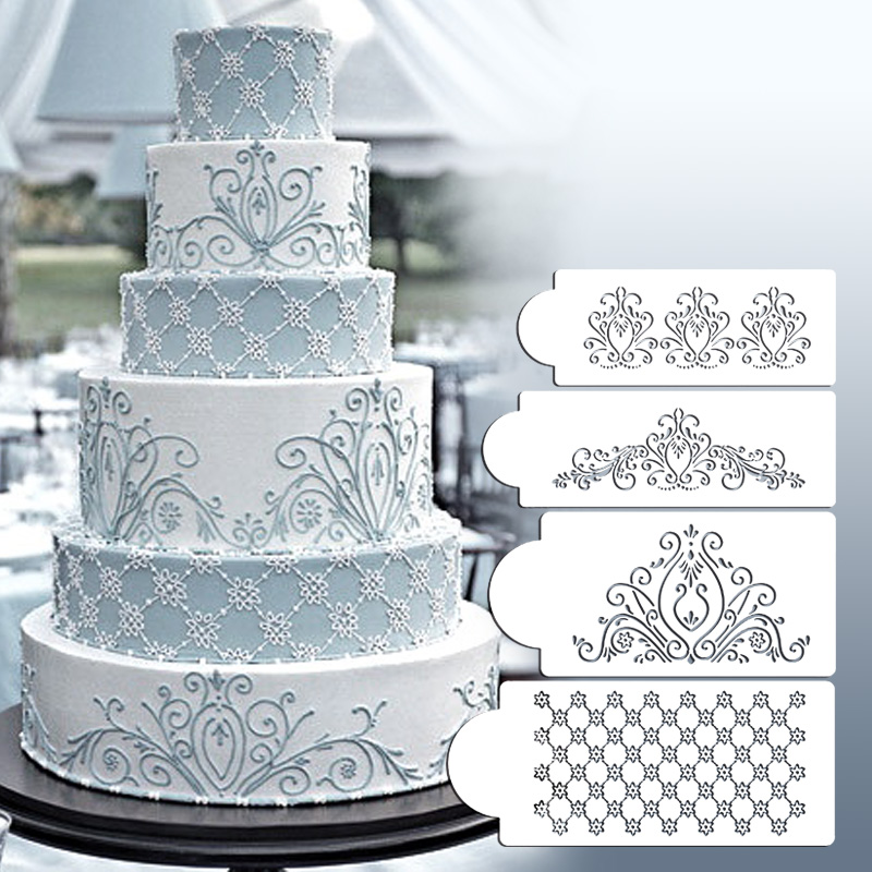 Lace Stencil On Wedding Cake