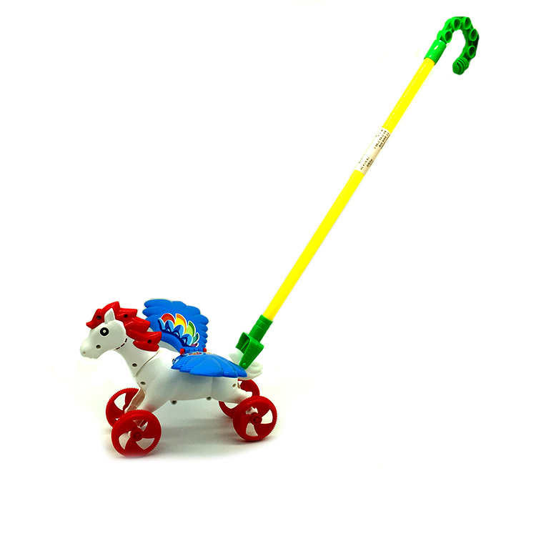 Kids plastic push the pegasus Free wheel Animal toys