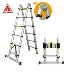 Strong 2.6 meters aluminium telescopic ladder with finger protector