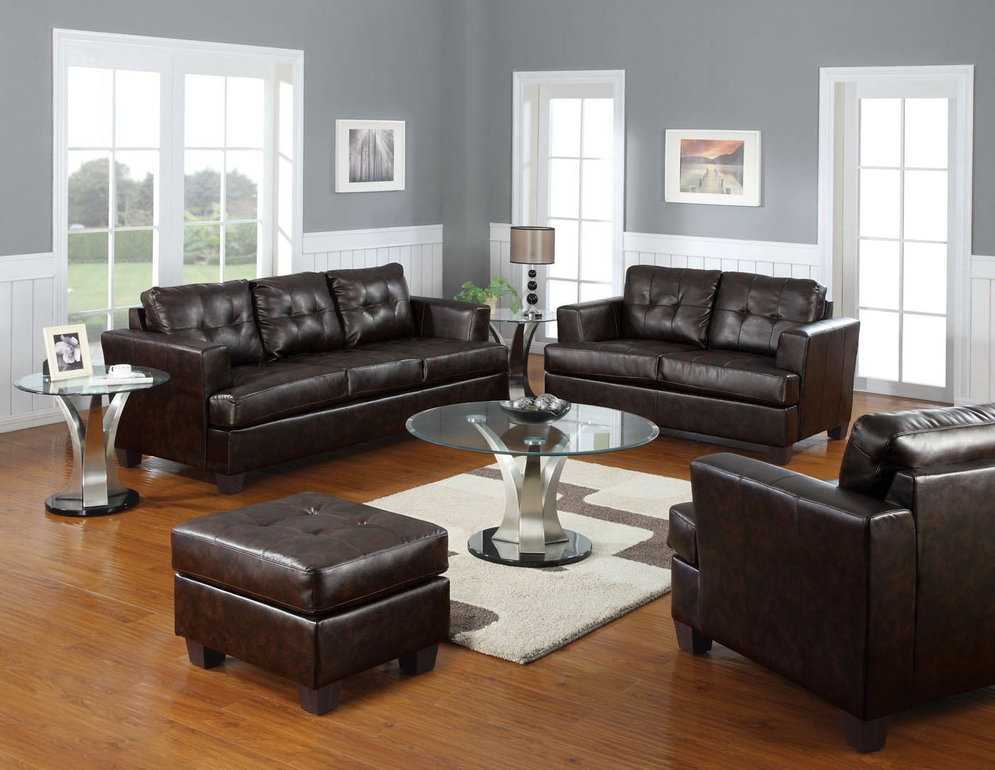 Acme 15070B Diamond Bonded Leather Sofa with Wood Leg, Brown