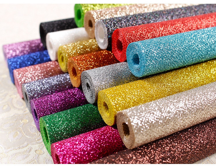 Shoes packing material interior home 3d design wallpaper flash decoration materials glitter fabric wallpaper