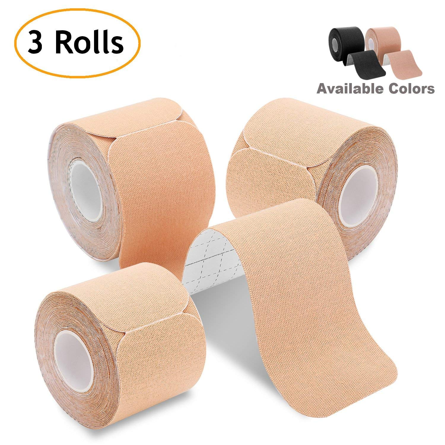 "Kinesiology Tape Precut (3 Rolls Pack), Poshei Elastic Therapeutic Sports Tape Pro for Shoulder Knee Elbow Ankle, Waterproof, Breathable, Latex Free, 2"" x 16.5 feet Per Roll (Beige)"