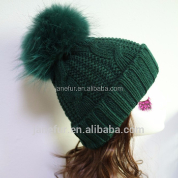 Dark Green SKI WINTER REAL FUR POM BEANIE BOBBLE HAT Christmas Gift LARGE POM  POM d30851d15b8