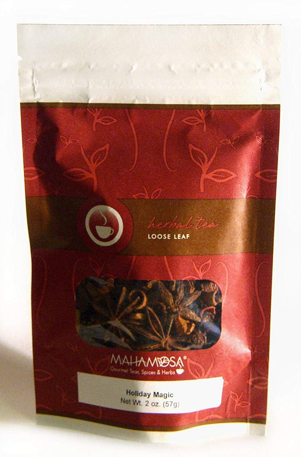 Mahamosa Holiday Magic Tea 2 oz, Herbal Fruit Tea Blend Loose Leaf (Looseleaf)(with apple pieces, rose hip peel, hibiscus blossoms, cinnamon rods, star anise seed, ginger bits, pink peppercorns, flavoring, freeze-dried strawberry slices, cloves)