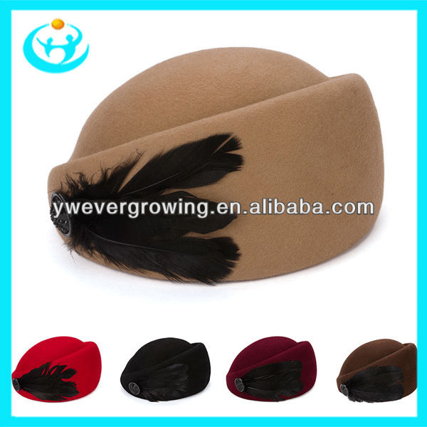 2013 Wholesale womens wool felt hats feather design stewardess cap