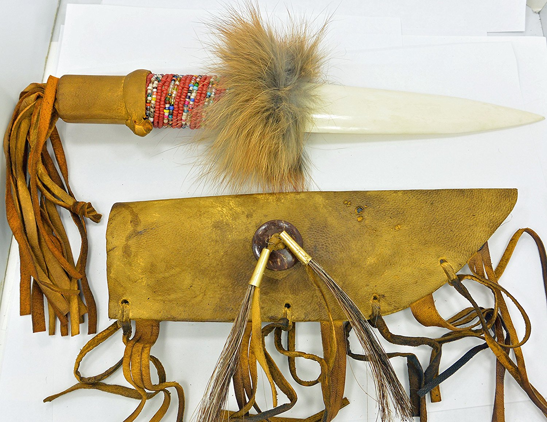 Navajo Bone Knife Beaded Red & Multicolor Beads