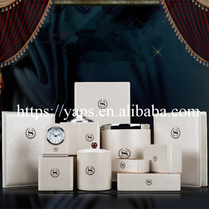 Hotel amenity of leather supplies guest room tableware leather set