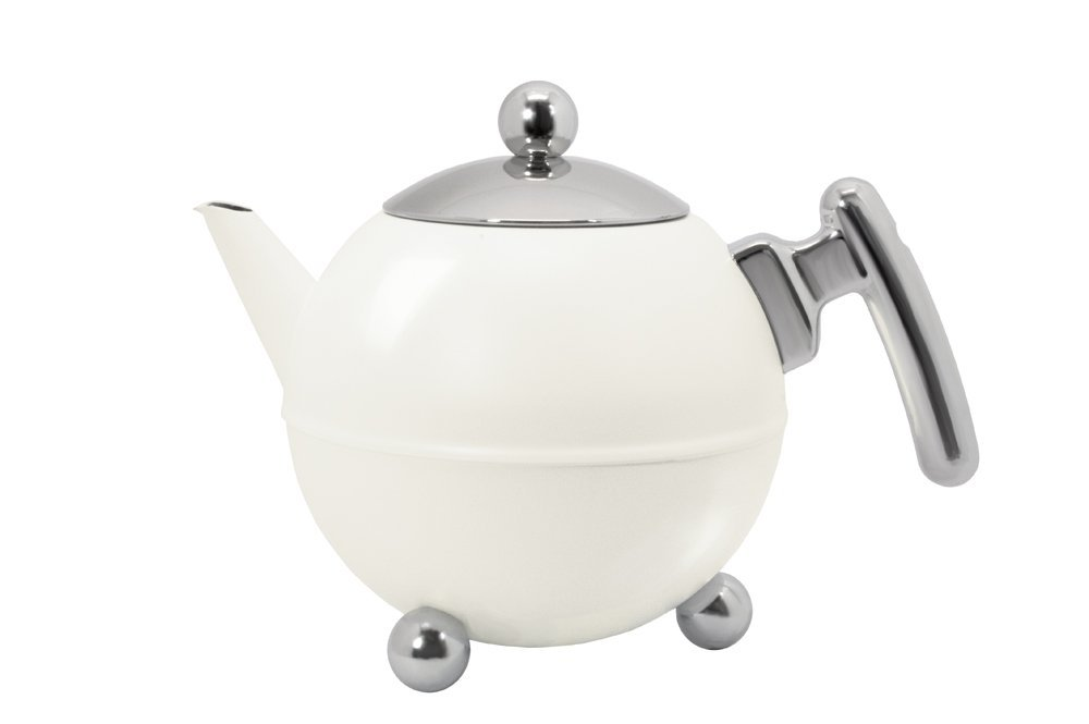 bredemeijer Classic Double Walled Teapot 1.2-Liter Stainless Steel Glossy Finish with Black Accents