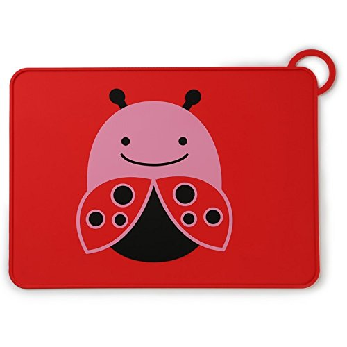 Skip Hop Baby Zoo Little Kid and Toddler Fold and Go Non-Slip, Food-Grade Silicone Placemat, Multi, Livie Ladybug