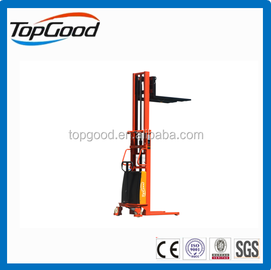TOPGOOD 1.5 ton semi electric stacker, electric pallet stacker, hydraulic stacker