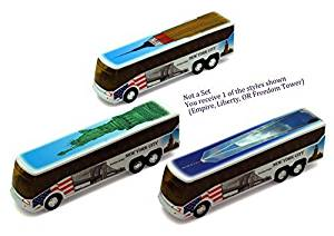 NYC Diecast Coach Bus 6 - Statue of Liberty, Empire State Building, Freedom Tower Model: by Toys & Child