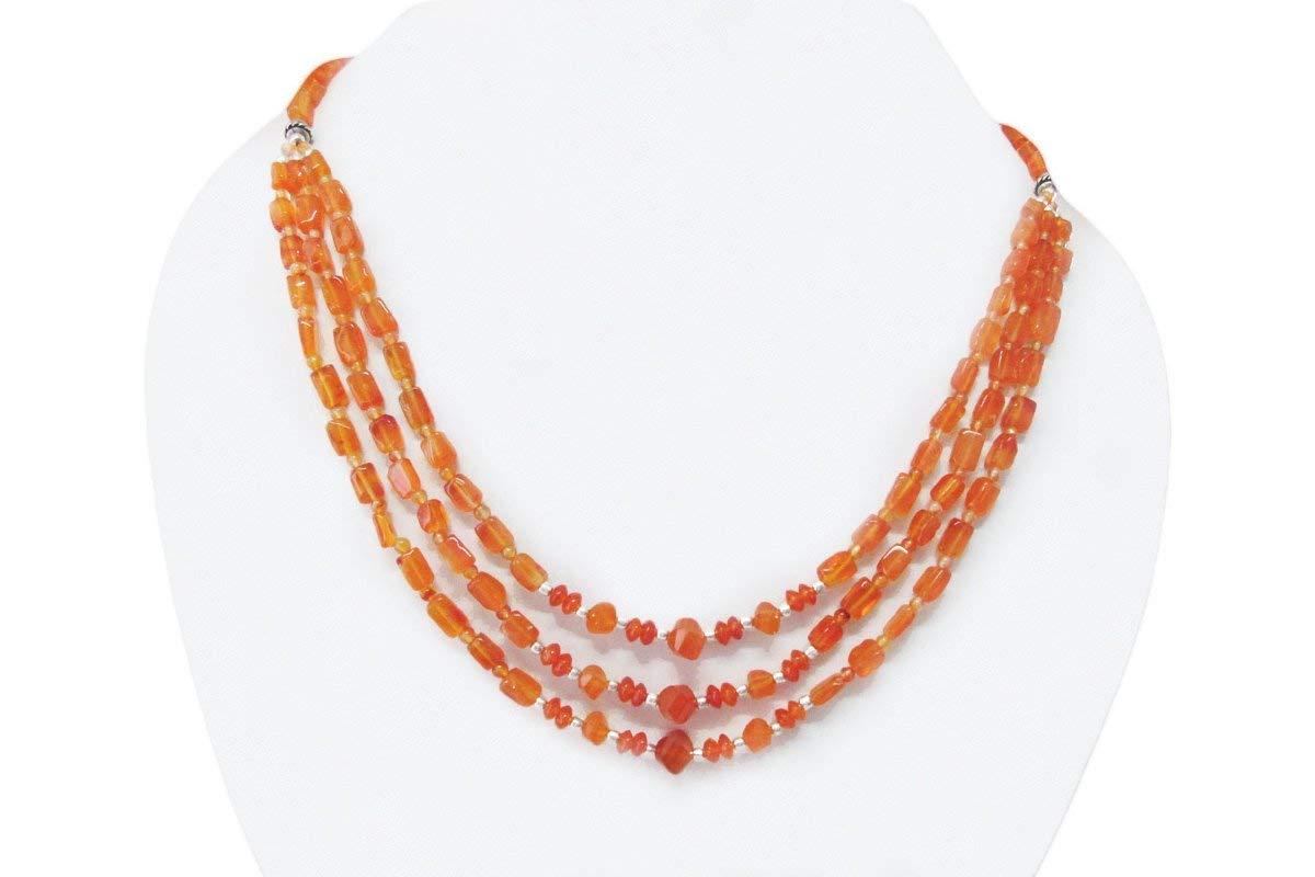 "Multi strand Carnelian Beads Necklace with Sterling Silver Beads 16"" Handmade Orange Carnelian Jewelry"
