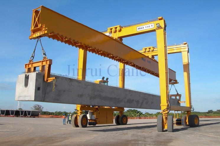 Overhead Crane Girder Deflection : Precast yard lifting equipment rubber tyre container