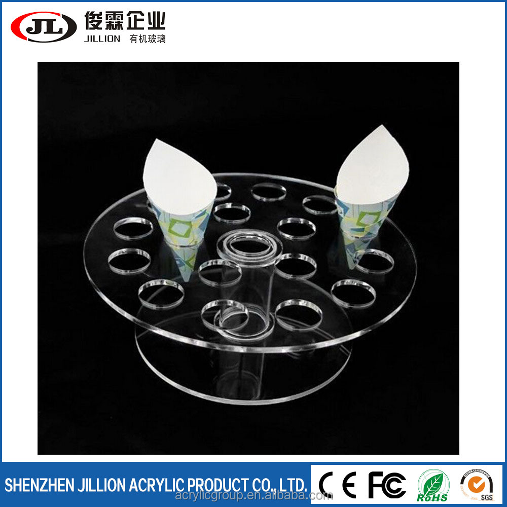 Acrylic Transparent Ice Cream Containers Cone Dispenser Display Stand