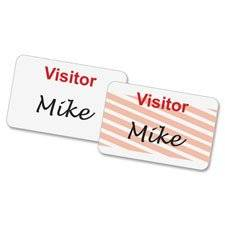 "Self-Expiring Visitor Badge, 3""x2"", 100/BX, White/Red, Sold as 1 Box, 100 Each per Box"