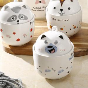3D Cute Panda pig Ceramic Cup With Lid Milk Coffee Tea Cup With Gift Box Porcelain Water Drinking Cup Drinkware Office Home