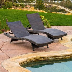 Outdoor Furniture Wicker Chaise Set Rattan Sun Lounger