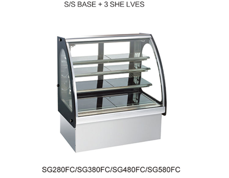 Good quality Commercial 3 Shelves Curved Glass Cake Showcase