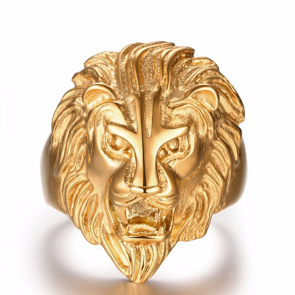 mens rings steel lion head fashion stainless wholesale detail product vintage gold