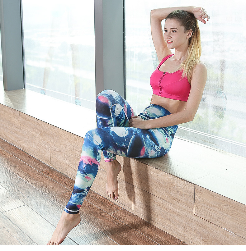 High Waist Colorful Heat transfer Printing Sports Tight Slimming Leggings