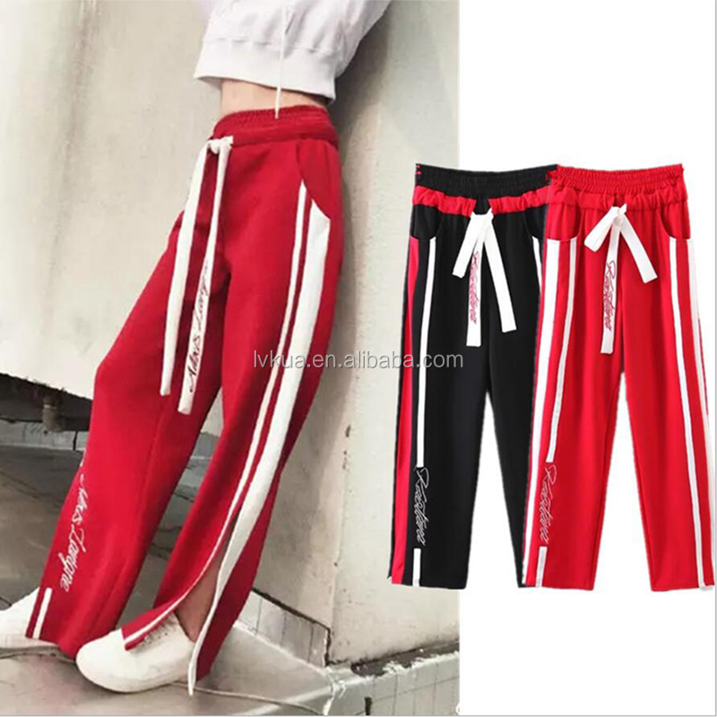 2017 Wholesale Fashion Summer Spring Women Embroidered Sport Loose Pants