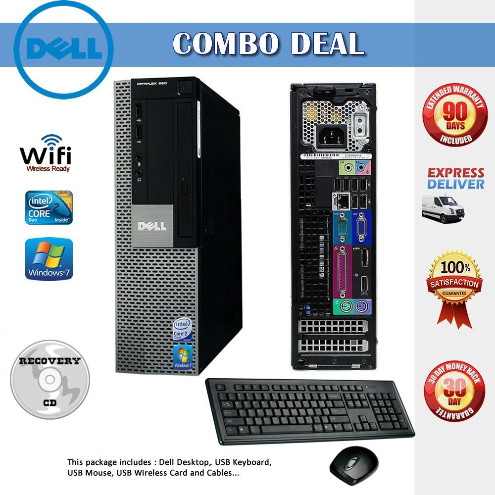 Dell OptiPlex 960 SFF Desktop Computer with Intel Core 2 Duo 3.0GHz - 4GB RAM - 160GB HDD- DVD RW- Windows 7 Pro 64-Bit -DVI Graphics Card+ Keyboard, Mouse + WiFi
