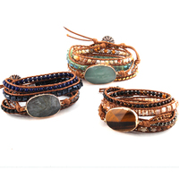 Fashion Women Leather Bracelet Handmade Mixed Natural Stones Crystal Stone Charm 5 Strands Wrap Bracelets DropShippers