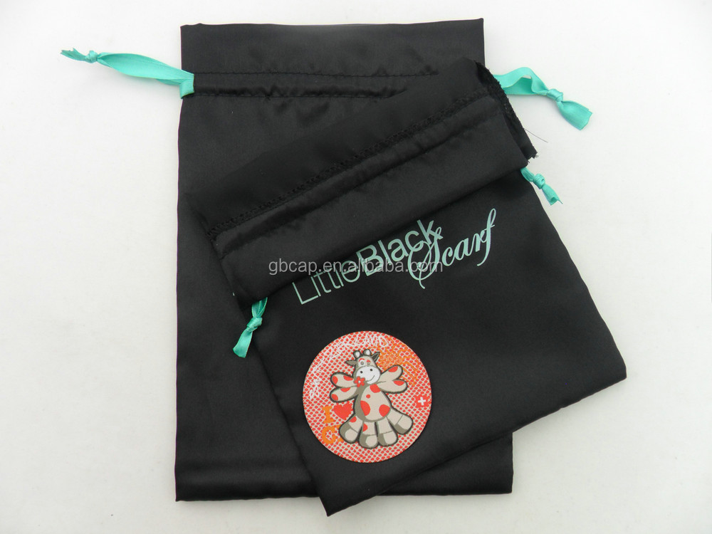 OEM custom design drawstring silk bag satin pouch for packing