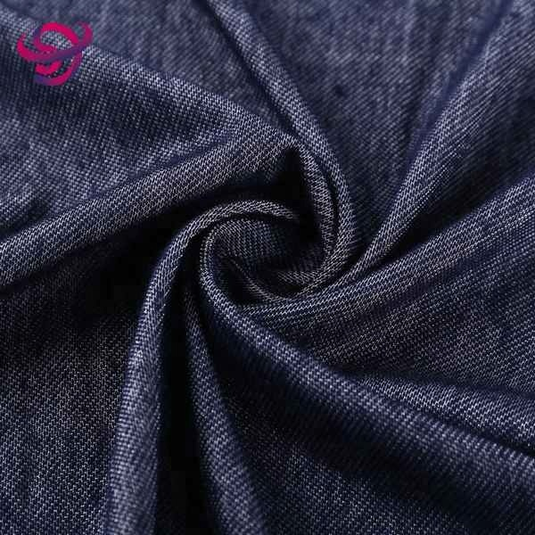 Polyester baumwolle stricken elastan stretch stricken denim stoff für jeans in viele stil