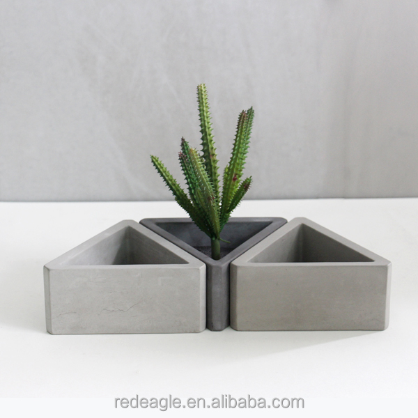 Concrete Or Cement Material Succulent Use Triangle Shape Flower Pot With Hole At Bottom