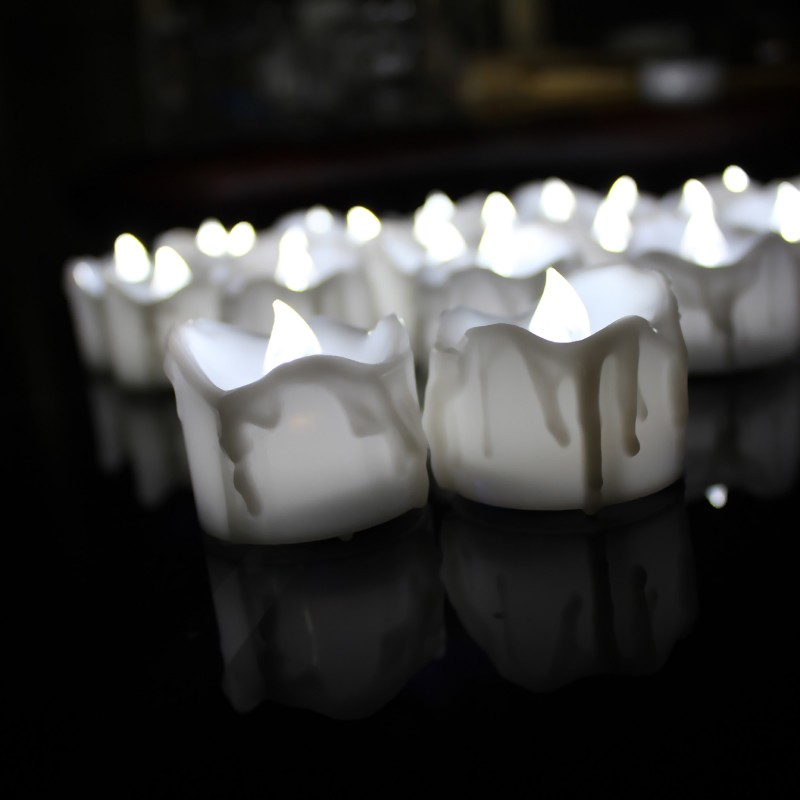 Warm-white Flame Led Tear Drop Candle Battery Tealight Candles with Timer
