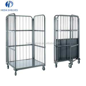 Advantage Price Warehouse Folding Rolling Metal Container Storage Cage With Wheels