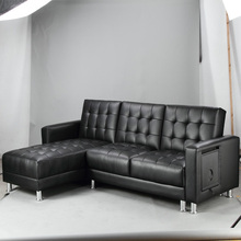 Black Leather 2-Pieces Sectional Sofa Bed New