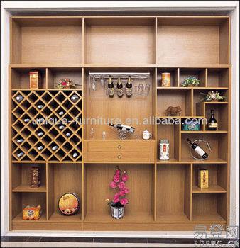 Pared de madera montado en pantalla botellero muebles para - Botellero de madera para vino ...