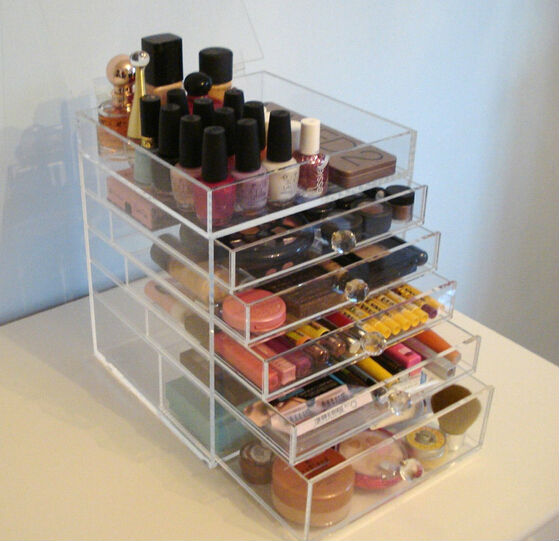 wholesale acrylic makeup organizer with drawers/clear makeup organizer