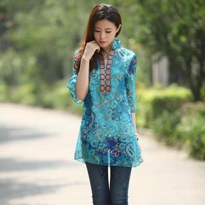 2017 Summer Women Shirt Blouse Chiffon Half Sleeve Plus size 5XL Floral printed Casual Top Embroidery Woman Tunic Blouses