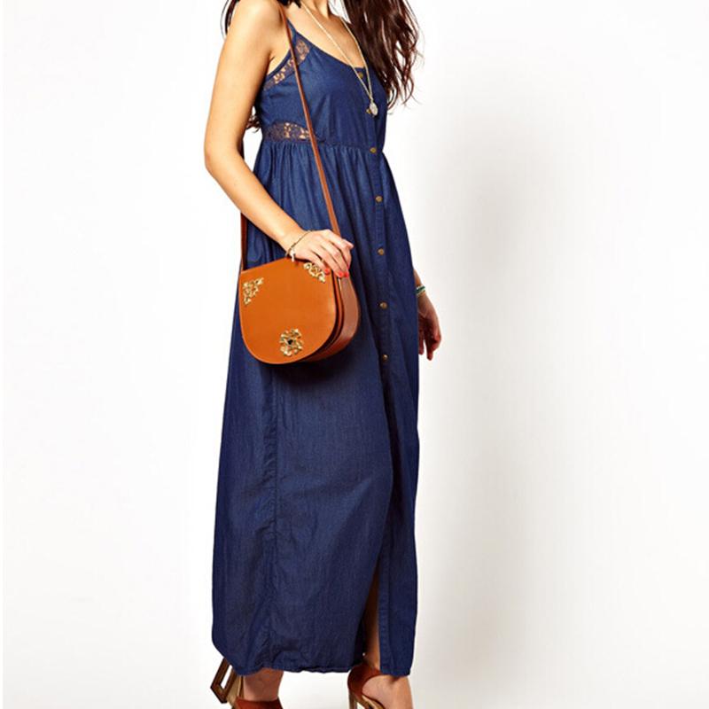 Women Maxi Dress Blue Denim Dress Lace Patchwork Sleeveless Spaghetti Strap  Summer Dress Plus size XXL Jeans Dresses HDY12513890