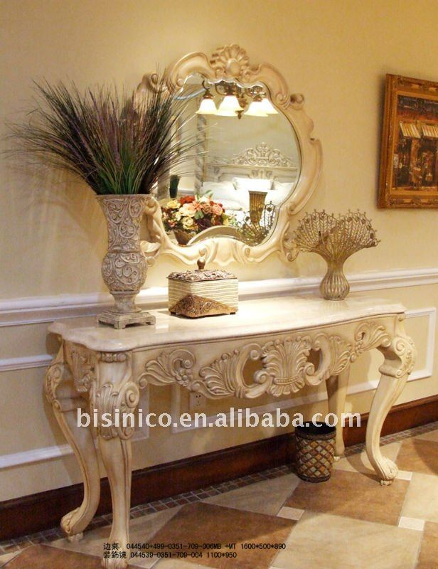 Good Classical White Mirrored Console,Side Table With Marble Top,Console Table,Decorative  Mirror,Wooden Hand Carved(b50503)   Buy Antique Mirrored Side Table ...