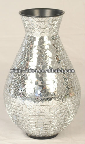 Silver Mirror Crackle Mosaic Vase For Home Decoration Buy Mosaic