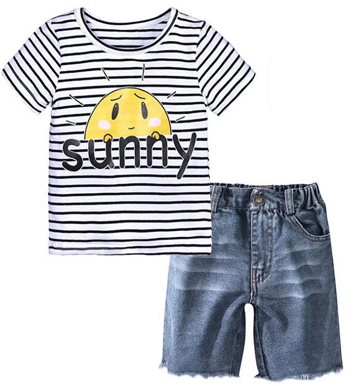 fa5e257c000ef Baby Boys Striped Sunny Letters Print T-Shirt and Denim Shorts Set 2 Piece  Set