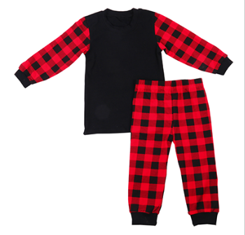 70adee8d99 2018 Winter Sleepwear Black Red Kids Christmas Baby Pajamas - Buy ...