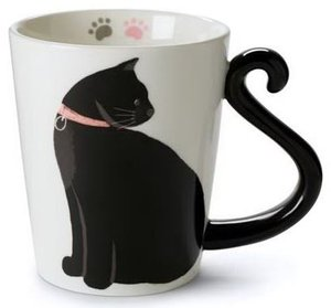 Unique 11 Oz Ceramic Coffee Tea Cup Cute Cat Mug for Cat Lovers with Black and White Kitty and Tail Shaped Handle