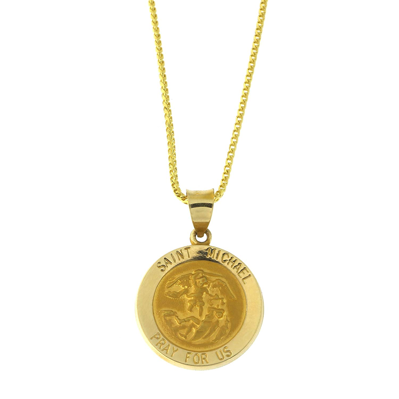 14k Yellow Gold Lightweight Saint Michael the Archangel Medal Pendant Necklace