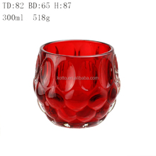 Internal sprayed red color dot decorative glass candlestick candle container