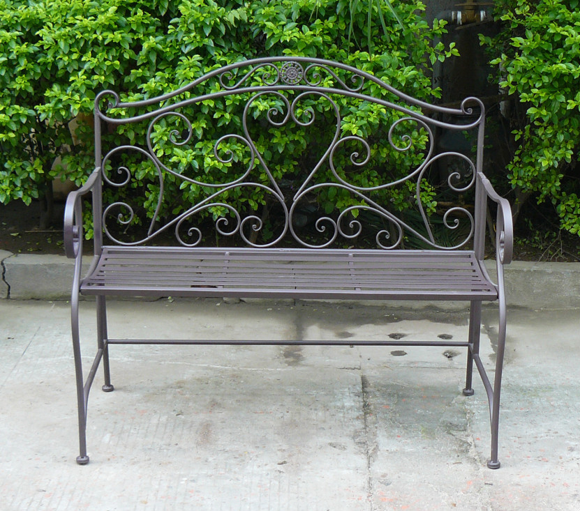 wrought iron bench cushions top sale heart shaped garden around tree workbench legs